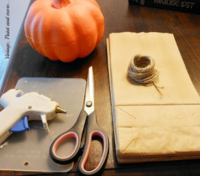 Vintage, Paint and more... supplies needed to make a lunch bag pumpkin