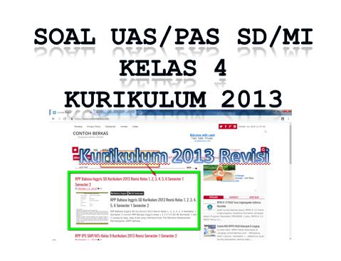 Soal PAS Kelas 4 SD/MI Kurikulum 2013 Tahun Pelajaran 2018/2019