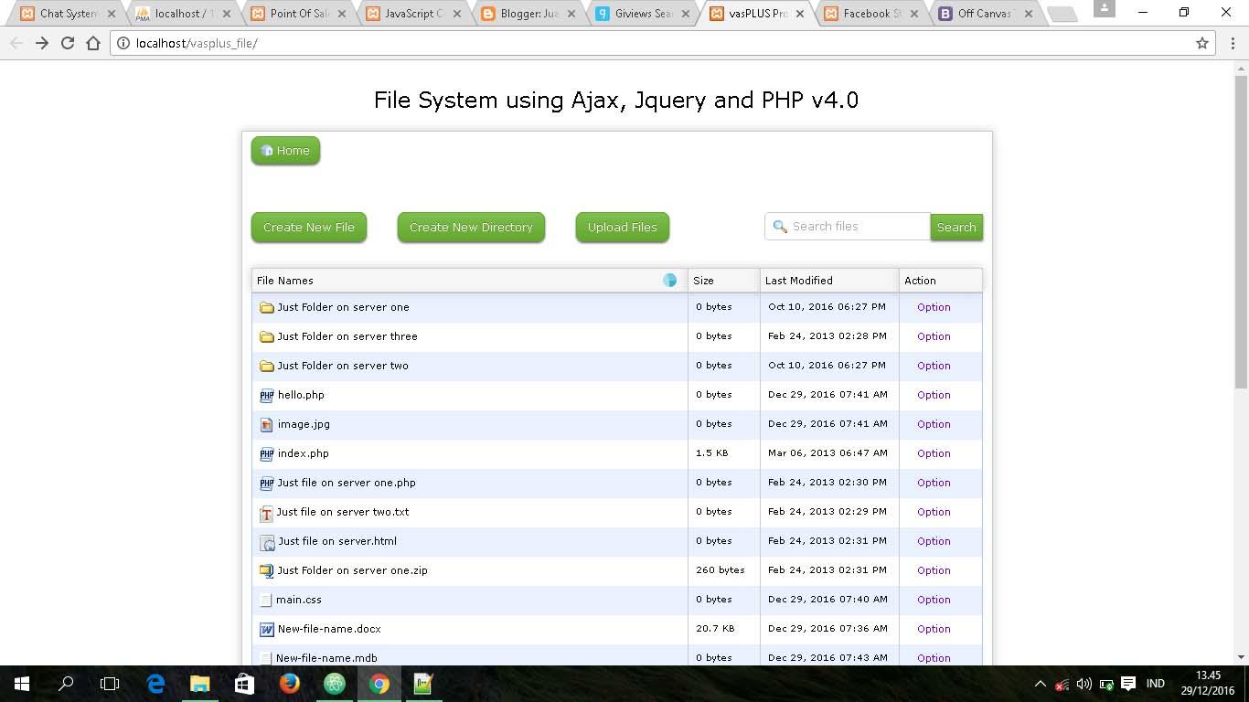 Aplikasi File Manager menggunakan PHP dan jQuery - Juanas