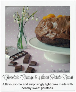 This chocolate orange bundt cake which incorporates mashed sweet potato in the batter truly is delicious and light.  Made with a relatively small quantity of refined sugar, the sweet potato adds a little extra sweetness as well as bringing vitamins and minerals to the baked treat.  It's deinitely one to try!