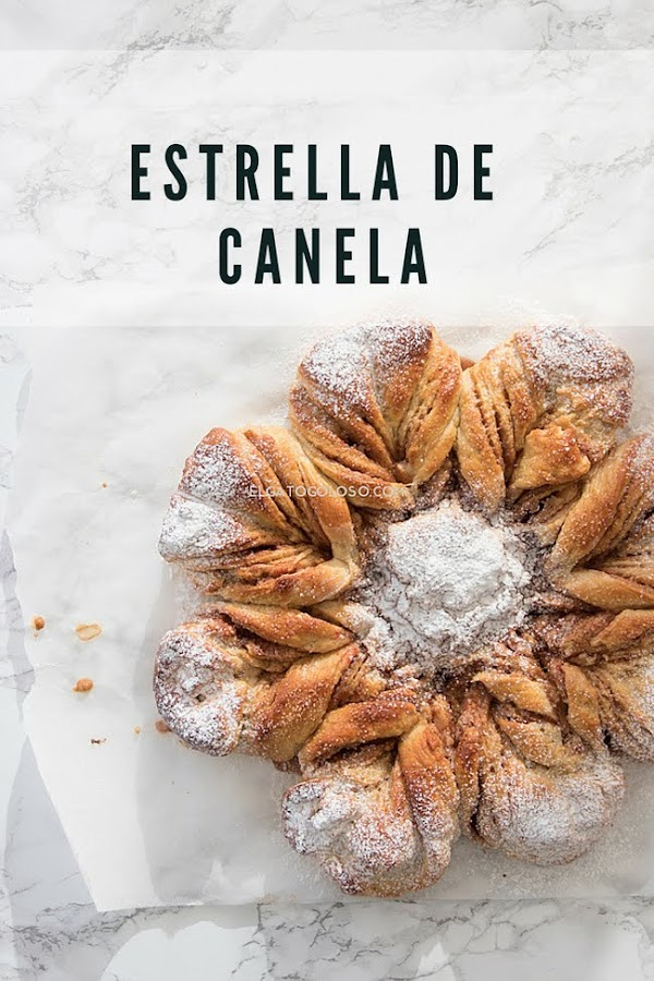 Estrella de pan rellena de canela y azúcar, receta de elgatogoloso.com