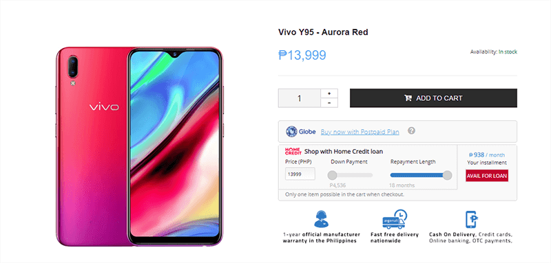 Vivo Y95 is now available at Argomall