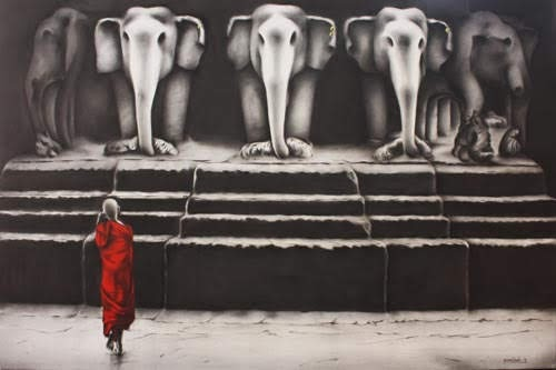 """'Search'  Charcoal and Acrylic on Canvas Paintings by Yuvraj Patil at Gallery Pradarshak"""
