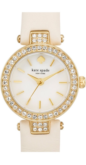 kate spade new york 'tiny metro' crystal bezel leather strap watch