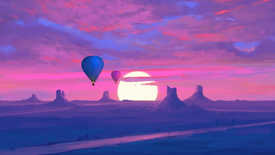 Hot Air Balloons, Sunset, Scenery, Minimalist, 4K, #4.3048