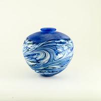 Isle of Wight Studio Glass Blue Wave Amphora