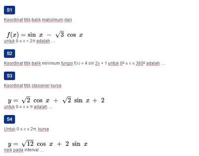Contoh Soal Penerapan turunan fungsi trigonometri untuk menentukan titik Stasioner