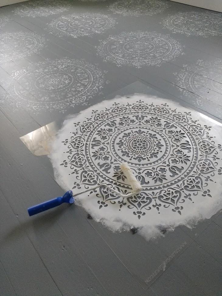 Kammy39s Korner Gorgeous Stenciled Wood Floor In One Hour