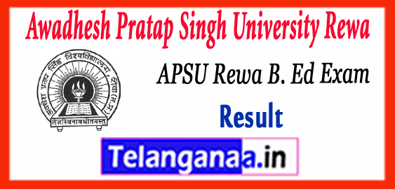 APSU Awadhesh Pratap Singh University Rewa B.Ed 1st 2nd Year Mains ATKT Result 2017