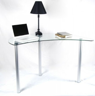 Clear Glass Small Corner Laptop Desk