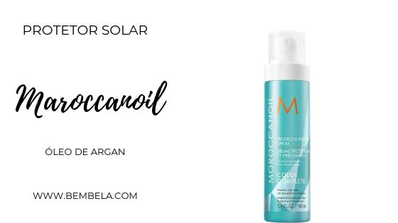 Formulado com extrato de girassol, este spray protege a cor do cabelo da oxidação e deixa o cabelo com cheirinho característico da Moroccanoil ao estilo tropical, à base de óleo de argan. $ 30 em média.