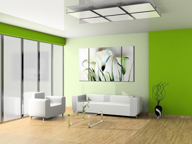 Colores para salones modernos. Verde, tranquilidad.