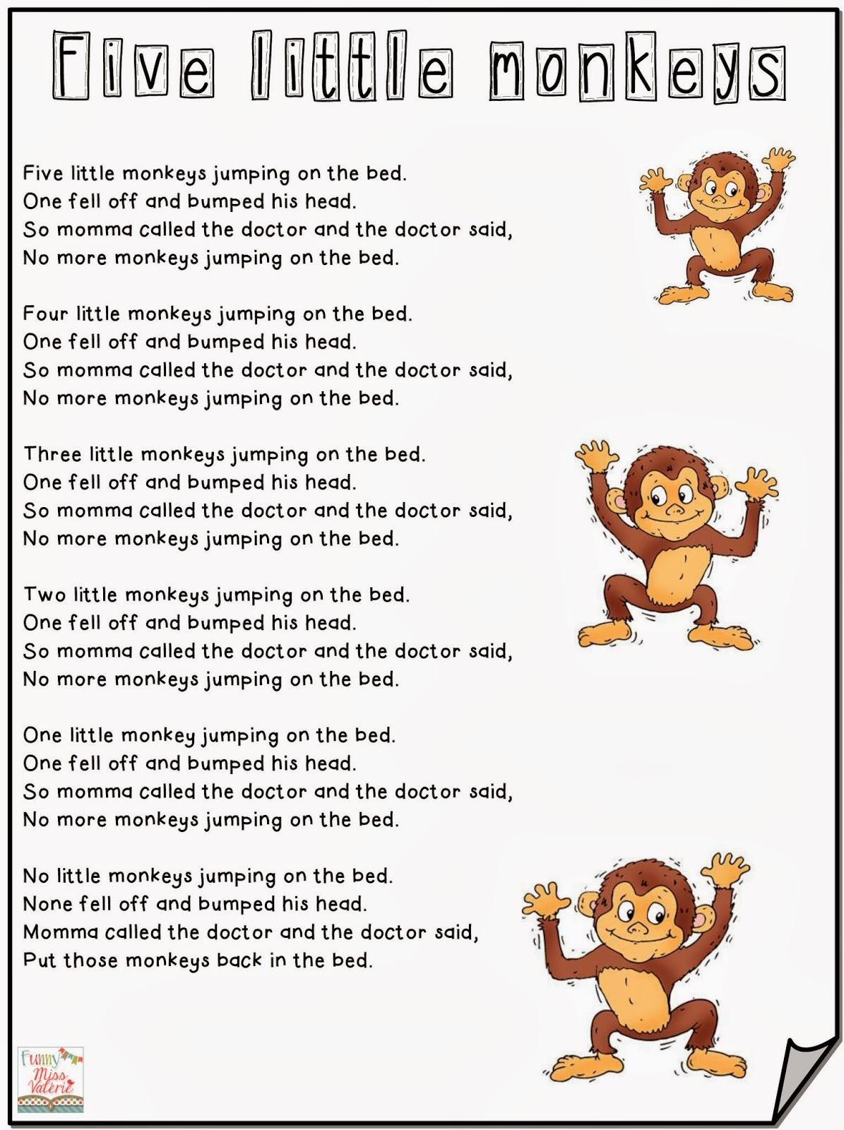 Funny Miss Valerie Five Little Monkeys