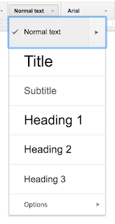 Drop Down Menu listing Title, Subtitle, Heading 1, Heading 2, and more