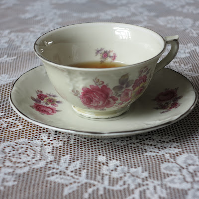thrifted, cup and saucer, Mosa, vintage, flower, pink, Haafner, tea, fairtrade