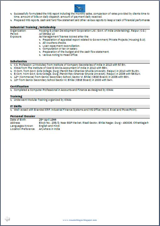Resume Sample: CMA, CS & M.Com having 6 Years Experience - Resume ...