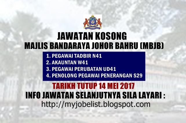 Jawatan Kosong Majlis Bandaraya Johor Bahru (MBJB) Mei 2017