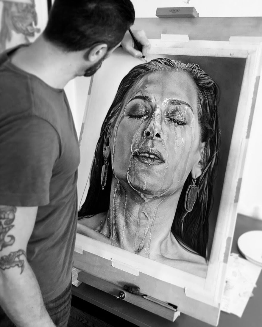 08-Water-Dripping-Justin-Cohen-Realistic-Portrait-Drawings-WIP-www-designstack-co