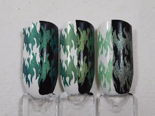 Hit The Bottle stamping polishes in See What I Green, It Mossed Be Green, and Lucky Spark