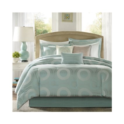Seafoam Green Bedding Comforter Set With Accent Throw Pillows