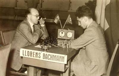 Partida Bachmann vs. Lloréns en el Match España-Suiza de 1953