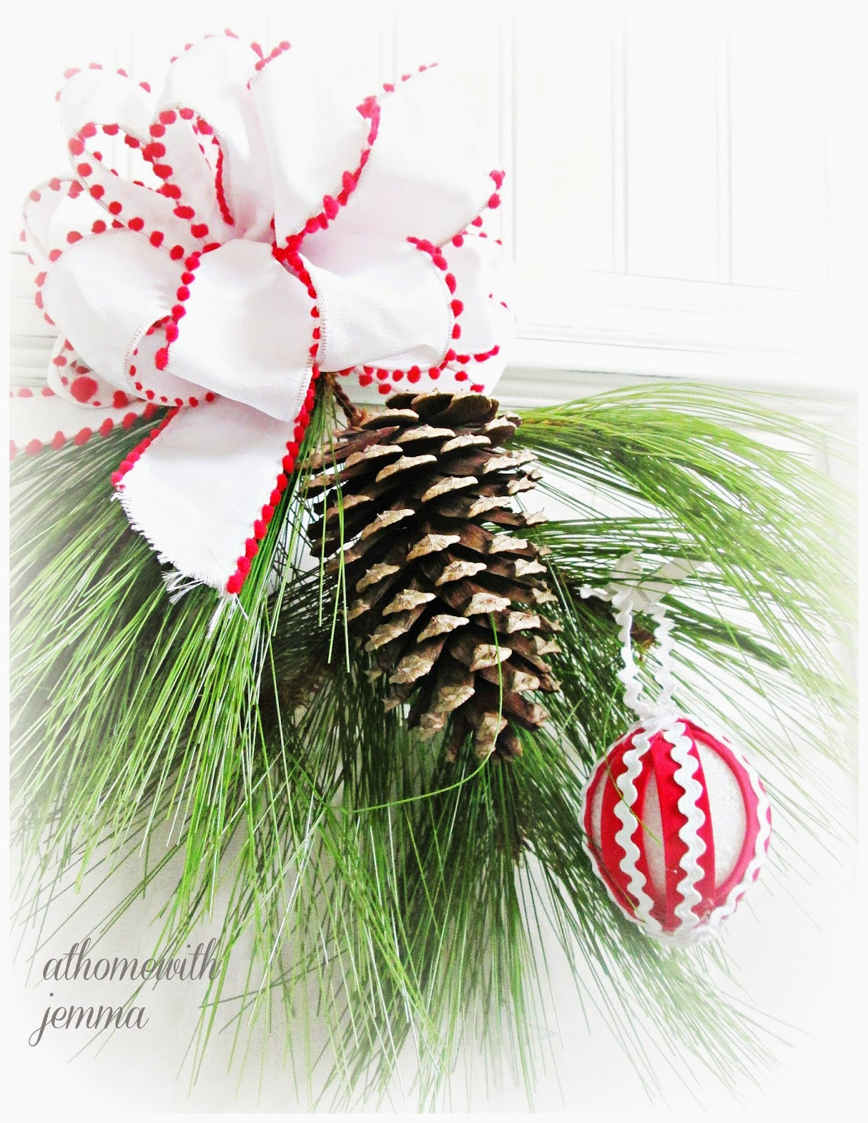 Styrofoam balls, rick-rack, Christmas, decorating,  handmade