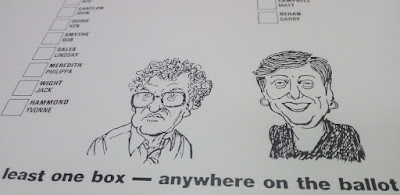 First ACT Election Ballot Paper with caricatures by Geoff Pryor