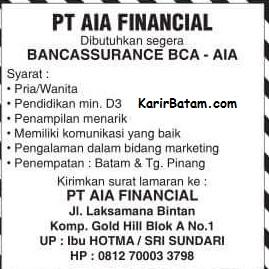 Lowongan Kerja PT. AIA Finance Batam