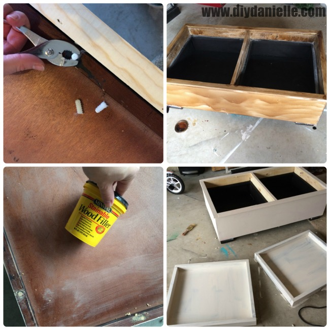 Filling holes, painting, and distressing the coffee table.