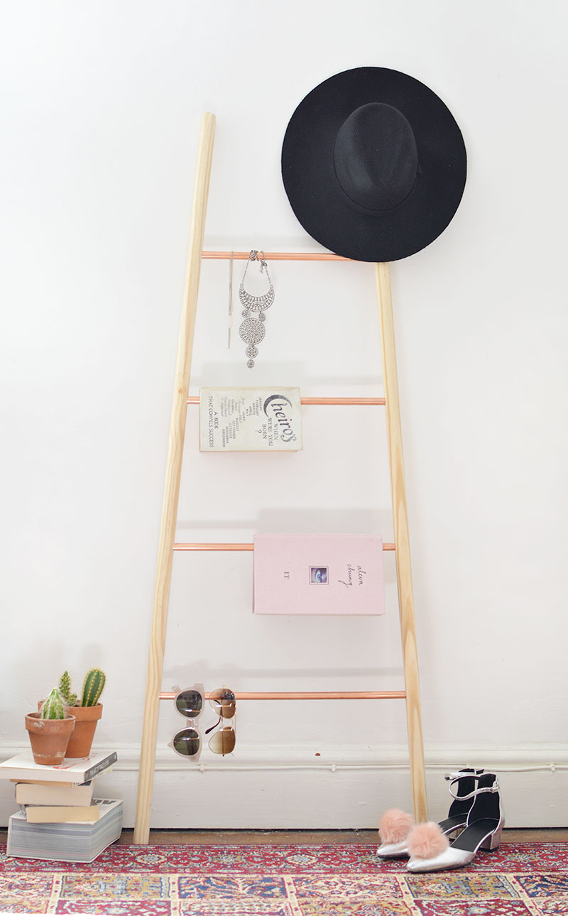 Diy Copper And Wood Ladder Shelf Burkatron