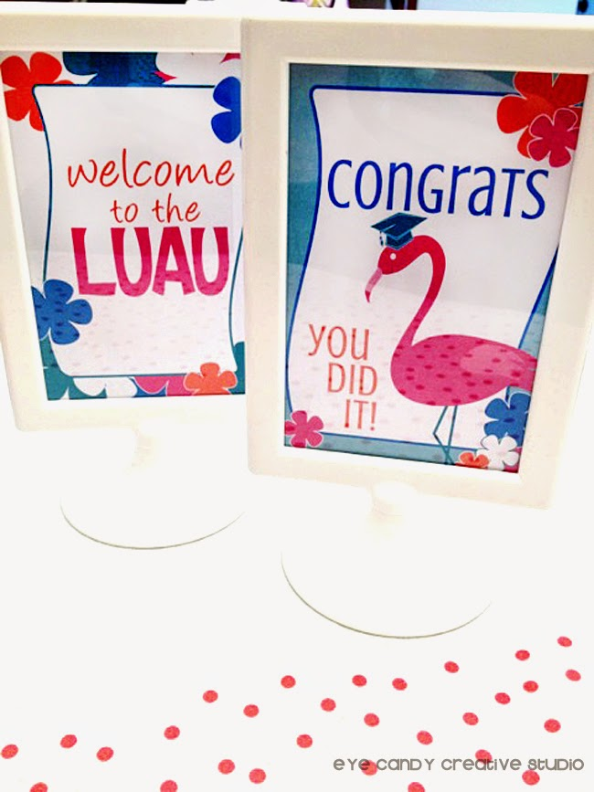 IKEA sign holders, welcome sign, luau, graduation party idea, luau decor