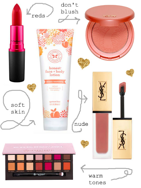 Holiday Beauty Gifts for the Beauty Enthusiast // MAC Viva Glam // Tarte Blush // YSL Matte Liquid Lipstain // ABH Palette // Peplums & Pie // Beauty Gift Guide