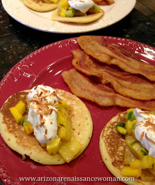 Pineapple Tacos with Coconut-Ricotta Pancake Shells, Mango-Kiwi Salsa, and Whipped Cream (2)