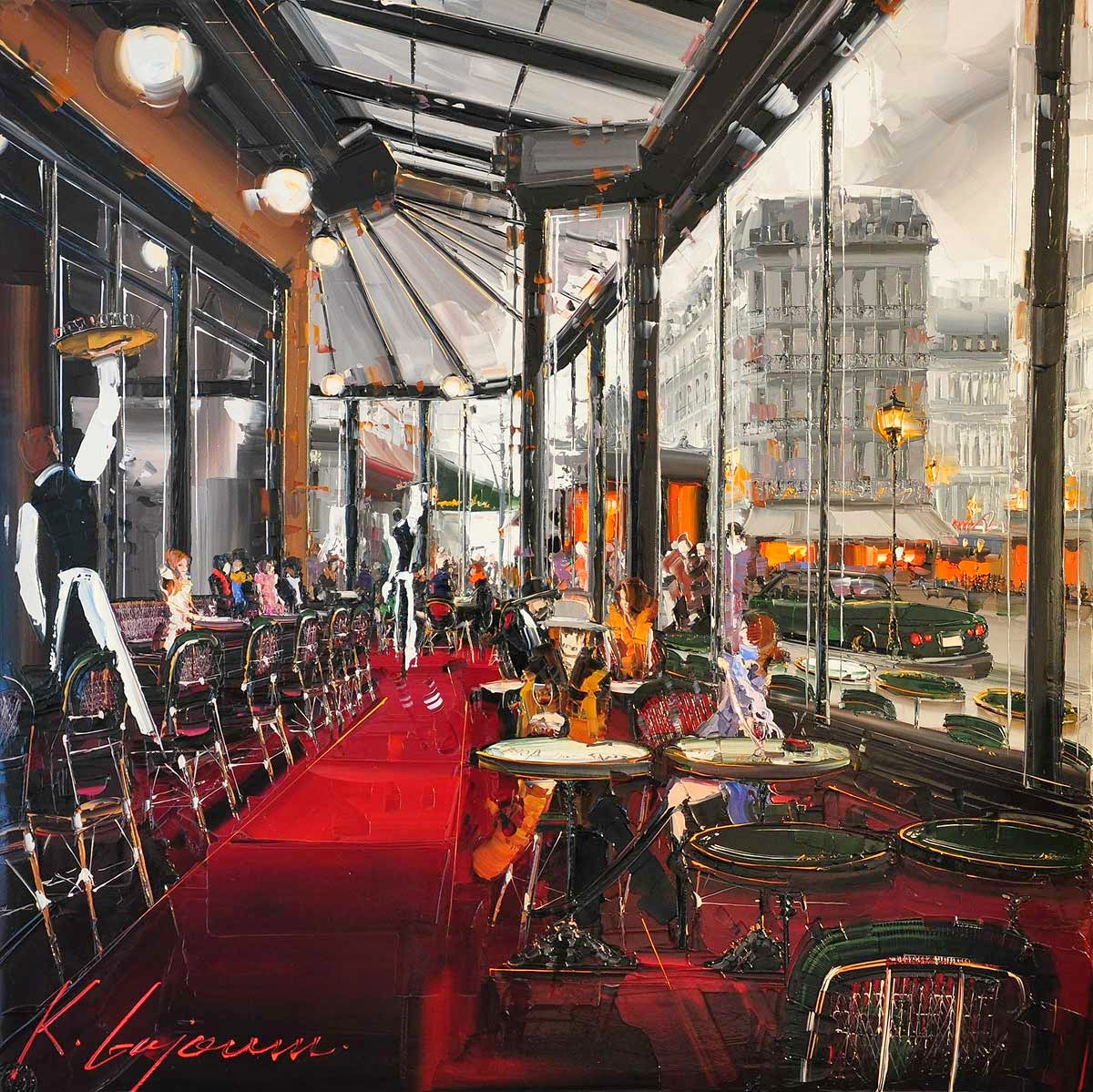 11-Café-de-Flore-Kal-Gajoum-Paintings-of-Dream-Like Cities-of-the-World-www-designstack-co