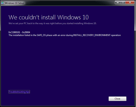 "Workaround: 0xc1900101 0x20004 Windows 10 ""The installation failed"""