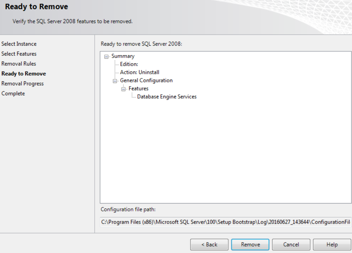 Uninstalling SQL Server from the Command Line to Remove