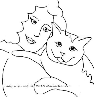 Lady with Cat. Copyright 2015, Maria Romero