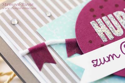 Stampin up wir feiern, Geburtstagskarte Ballon, Stampin up Jahreskatalog 2015, Stampin Up Motivklebeband Boheme, Stampin Up Designerpapier Bunte Party, Match the Sketch, Stempel-Biene, Geburtstagskarte basteln
