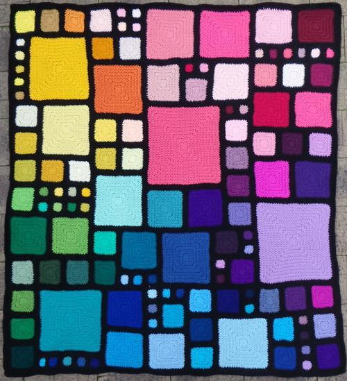 Crochet Babette-Blanket, Square motif, Afghan, Simple