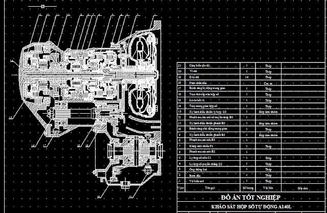 Bản vẽ khảo sát hộp số tự động ô tô Toyota Camry