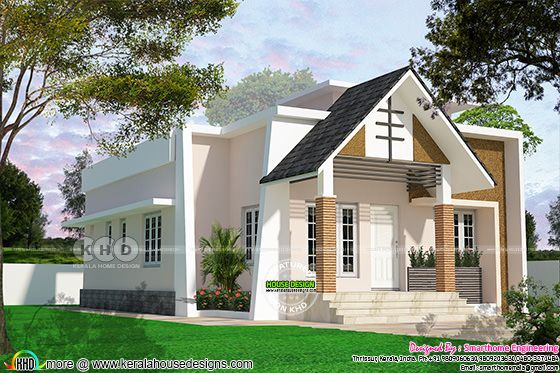 2 bedroom mixed roof budget house design