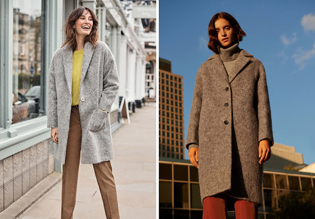 Девушки в сером пальто из мохера чуть ниже колена