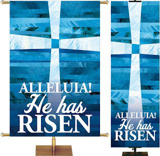 PraiseBanners Easter Church Banner Alleluia He Has Risen