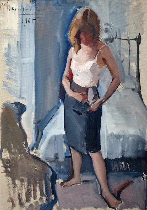 Mujer desvistiéndose, Félix Revello de Toro, Retratos de Revello de Toro, Pintor español