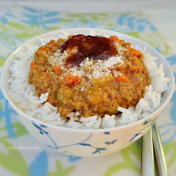 A Simple, quick and easy recipe for a busy week night Curry and Rice using ground beef - can also be served over mashed potatoes or as a filling in a dinner roll