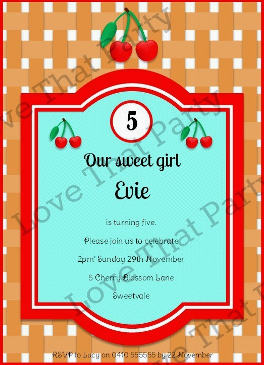 Cherry Party Birthday Invitation Ideas aqua red