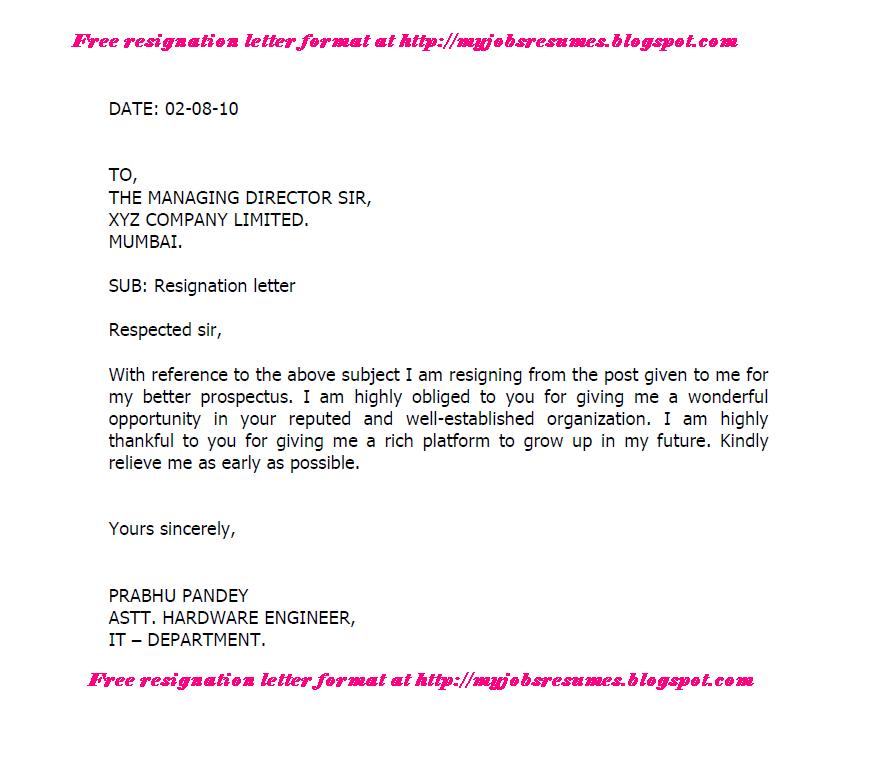 FRESH JOBS AND FREE RESUME SAMPLES FOR JOBS: resignation letter format