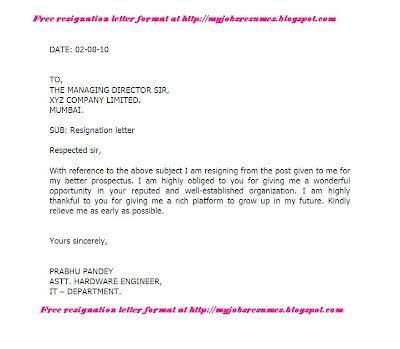 Resignation Letter Format  LondaBritishcollegeCo