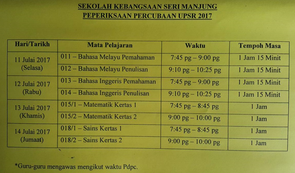Blog Rasmi Sk Seri Manjung Perak Malaysia Jadual Percubaan Upsr 2017