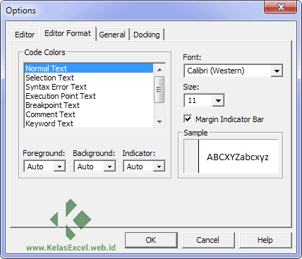 TAB Editor Format Opstions VBE Excel
